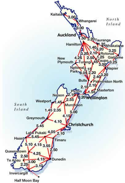 new zealand map of distances